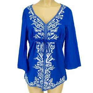 Michael Kors Blue Embroidered Tie Front Blouse L